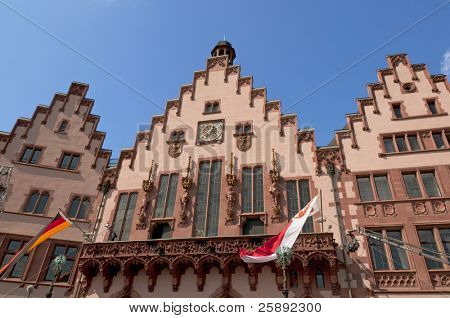 Historical Romer Square  (Römerplatz/ Roemerplatz)  in the city of Frankfurt on Main, Germany