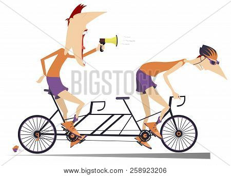 Cyclist And Coach Rides A Tandem Bike Isolated. Strict Trainer With Megaphone And Cyclist In Helmets