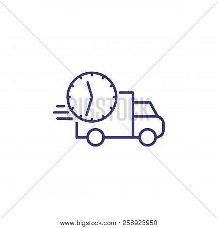 Delivery Time Line Icon. Fast Truck And Clock In Motion. Delivery Concept. Can Be Used For Topics Li
