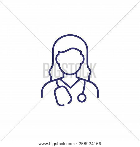 Doctor Line Icon. Woman With Stethoscope. Occupation Concept. Can Be Used For Topics Like Medicine,