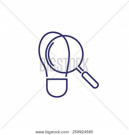 Footprint And Magnifying Glass Icon. Evidence, Detective, Spy. Justice Concept. Vector Illustration