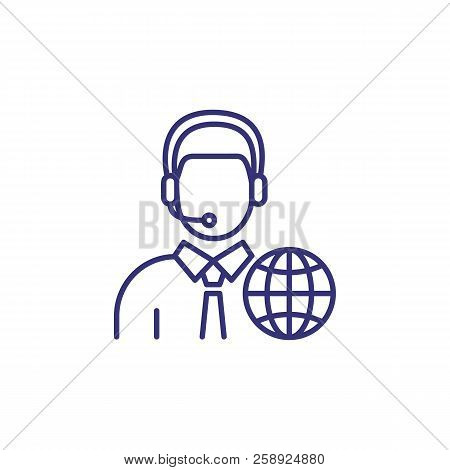 Interpreter Line Icon. Character In Headset With Globe. Translation Concept. Can Be Used For Topics