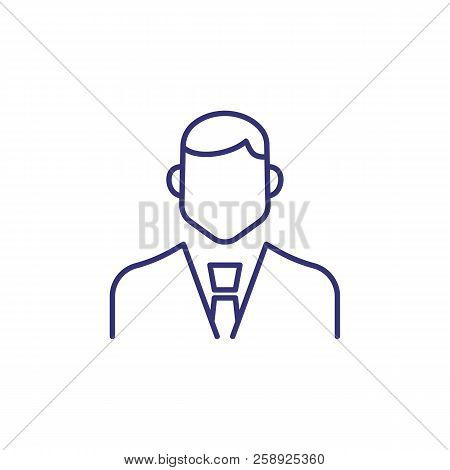 Manager Line Icon. Male Office Worker, Employee, Clerk, Businessman. Occupation Concept. Can Be Used