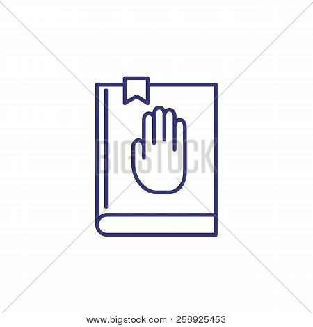 Oath Concept Line Icon. Inauguration, Constitution, Bible. Justice Concept. Vector Illustration Can