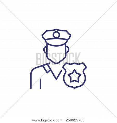 Police Officer Line Icon. Policeman, Cop, Badge. Occupation Concept. Can Be Used For Topics Like Law
