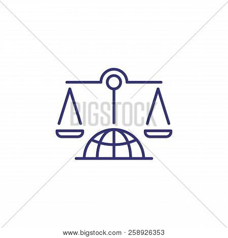 Scales On Globe Line Icon. International Tribunal, Supreme Court, Human Rights Court. Justice Concep