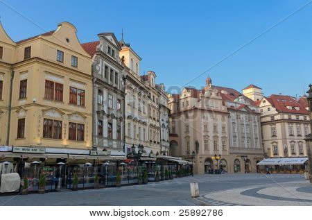 Old Town Square (Staromestske Namesti) and cafes; Prague, Czech Republic