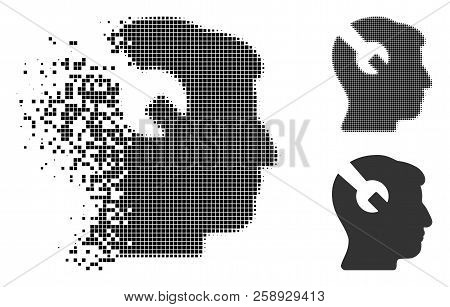 Head Surgery Wrench Icon In Fractured, Dotted Halftone And Entire Versions. Fragments Are Combined I