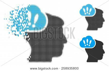 Problem Brainstorm Icon In Dispersed, Dotted Halftone And Whole Versions. Fragments Are Grouped Into
