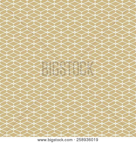 Golden Mesh Seamless Pattern. Subtle Abstract Geometric Ornament Texture With Thin Curved Lines, Del