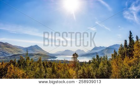 Spectacular Vista Of Mountains And Skilak Lake During Autumn On The Kenai Peninsula Of Alaska