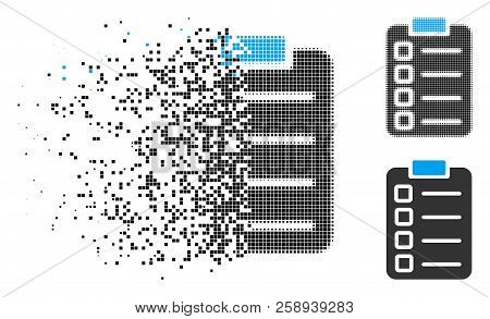 Test Tasks Icon In Dissolved, Pixelated Halftone And Whole Versions. Cells Are Grouped Into Vector D