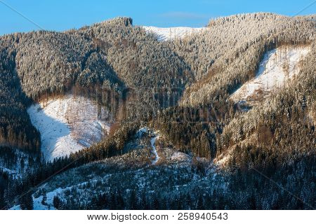 Picturesque Sunrise Morning Winter Carpathian Mountains. Zelene, Verkhovyna, Ukraine.