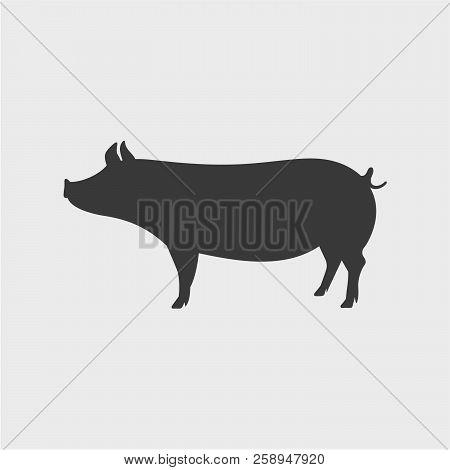Pig Vector Silhouette. Farm Animal Vector Silhouette