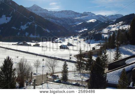 Swiss Mountain Winter Scene