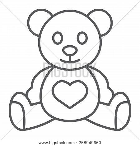 Teddy Bear Thin Line Icon, Child And Toy, Animal Sign, Vector Graphics, A Linear Pattern On A White