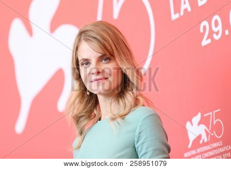Juli Jakab attends 'Napszallta (Sunset)' photocall during the 75th Venice Film Festival at Sala Casino on September 3, 2018 in Venice, Italy.