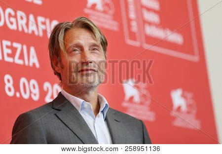 Mads Mikkelsen attends 'At Eternity's Gate' photocall during the 75th Venice Film Festival at Sala Casino on September 3, 2018 in Venice, Italy.