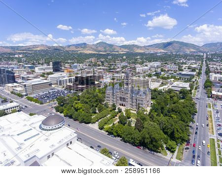 Aerial View Of Salt Lake City And County Building In Salt Lake City, Utah, Usa. This Building Was Bu