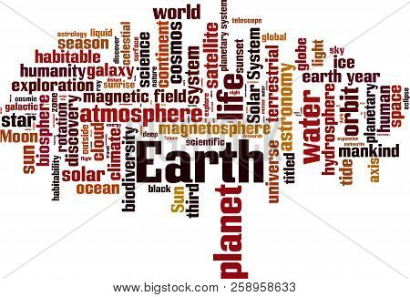 Earth Word Cloud Concept. Vector Illustration On White