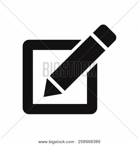 Checkbox With Pen Icon Isolated On White Background. Checkbox With Pen Icon In Trendy Design Style.