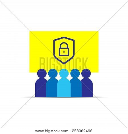 Privacy Data Protection And Internet Vpn Security Concept With Shield Line Icon. Group People. Busin