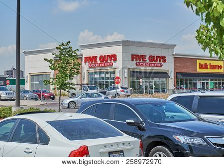 Toronto, Canada - August 15, 2018: Five Guys Storefront. Five Guys Enterprises Llc Is An American Fa