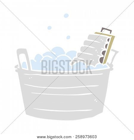 flat color style cartoon old washboard and bucket