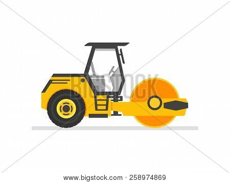 Road Roller Heavy Equipment. Road Roller Asphalt Compactor. Flat Style Steamroller Isolated On White