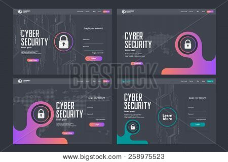 Cyber Security Landing Page Vector Template Design