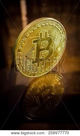 Bitcoin. Physical Bit Coin. Digital Currency. Cryptocurrency. Golden Coin With Bitcoin Symbol. Stock