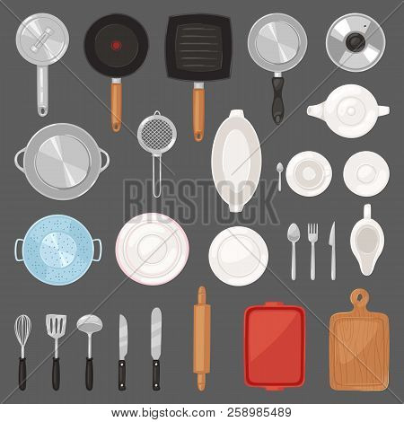 Kitchen Utensil Vector Kitchenware Or Cookware For Cooking Food Set Of Pan Cutlery And Plate Illustr