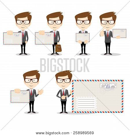 Ready-to-use Character Set. Young Male Clerk With An Envelope