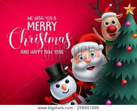 Merry Christmas Greeting Text And Christmas Characters Like Santa Claus, Reindeer And Snowman Waivin