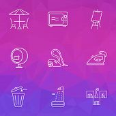 Decor icons line style set with shower, microwave, iron and other canvas elements. Isolated vector illustration decor icons. poster