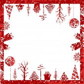 Abstract red grunge Christmas cubic shape stamp with small elements like Christmas trees, hanging Christmas balls & gift boxes for Christmas & other occasions. poster