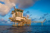 Offshore oil and gas central facility in the gulf where produce raw gas condensate and crude oil and then treat for sent to onshore refinery and petrochemical industry and liquid set to floating storage offloading. poster