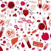 Creative anemia seamless pattern in doodle style. Hand drawn vector illustration in red and pink colors isolated on white background. Medical, healthcare and educational concept. poster