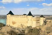 Khotyn fortress and castle on the bank of Dnister river in Ukraine poster