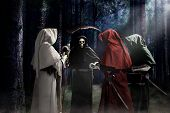 four apocalypse knights during judgment day in horror forest poster