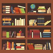 Books in library bookcase. Encyclopedia book at bookshelf. Pile textbooks and magazines at bookshelves vector background illustration poster