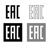 EAC EurAsian Conformity mark Vector isolated mark symbol on black background set . poster