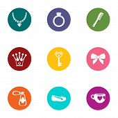 Embellishment icons set. Flat set of 9 embellishment vector icons for web isolated on white background poster