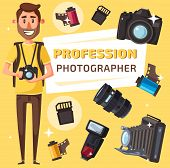 Photographer profession, photography professional equipment. Journalist or paparazzi with digital photo camera, lens and tripod, flash, photo film and memory card, vector cartoon style poster