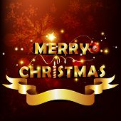 golden merry christmas text with ribbon poster