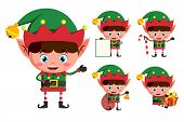 Christmas elves vector character set. Young boy elf cartoon characters holding christmas elements and objects isolated in white background. Vector illustration. poster