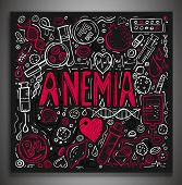 Creative anemia background with lettering in doodle style. Hand drawn vector illustration in white and pink colors isolated on dark grey background. Medical, healthcare and educational concept. poster