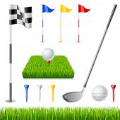 Golf icon set. Golf club, golf flag, golf ball and green glass poster