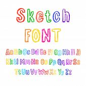 Vector Colorful Sketchy Font, Hand Drawn Letters Set, Isolated on White Background. poster