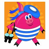 cute pig sailor with binoculars. vector illustration and drawing.sunny background poster